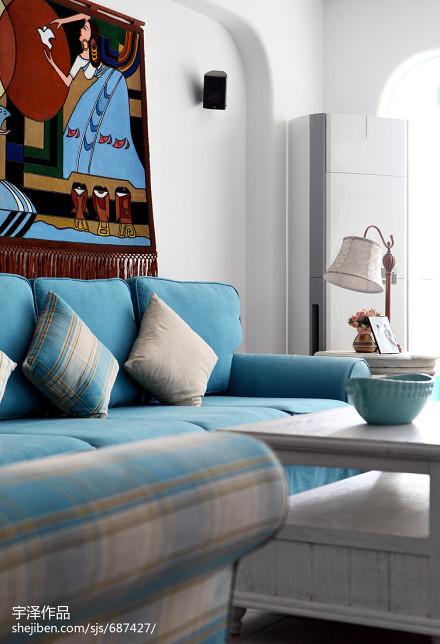 2018精选102平米三居客厅地中海设计效果图客厅1图