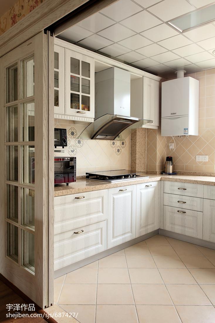 田园风格橱柜设计案例餐厅橱柜美式田园厨房设计图片赏析