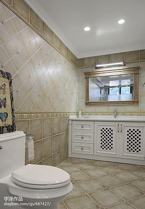 2018精选面积111平别墅卫生间美式装修设计效果图片