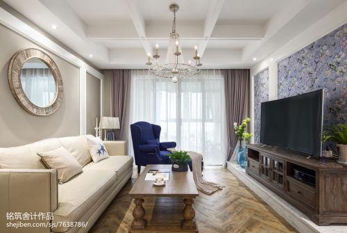 素雅法式客厅设计客厅窗帘121-150m²四居及以上家装装修案例效果图