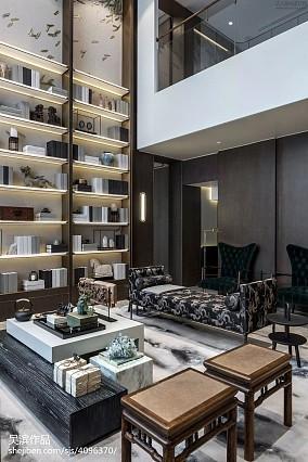 精选130平米中式别墅客厅效果图片别墅豪宅中式现代家装装修案例效果图