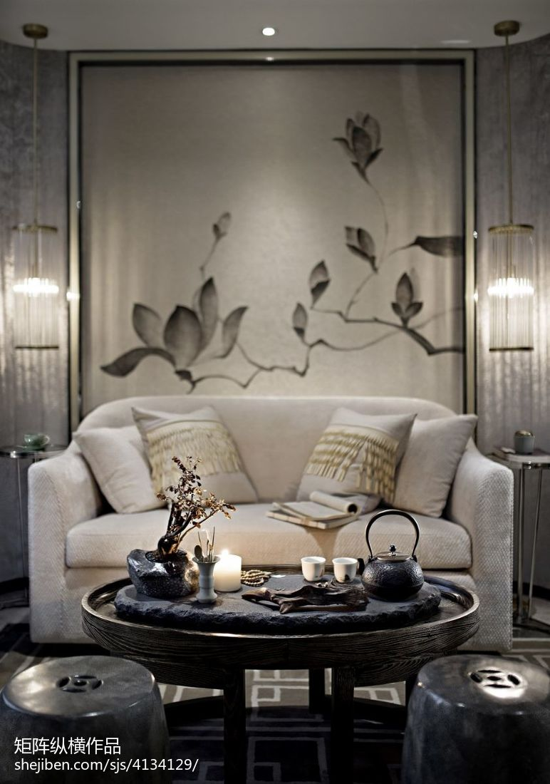 2018精选客厅中式装饰图片欣赏样板间中式现代家装装修案例效果图