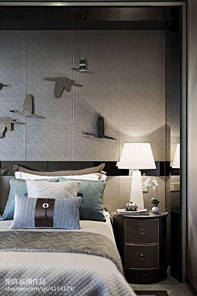 优雅293平中式样板间卧室案例图样板间中式现代家装装修案例效果图