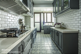 蓝色美式格调厨房装修