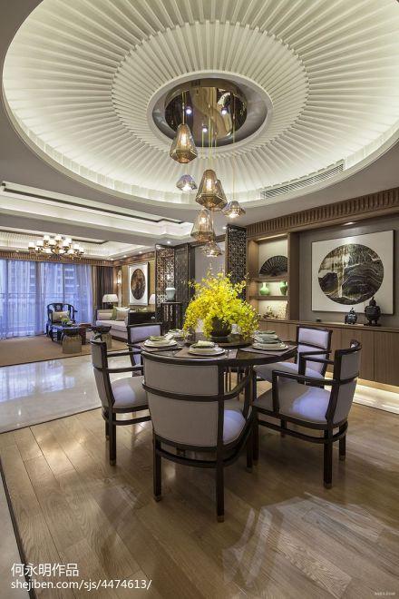 创意中式餐厅吊顶设计三居中式现代家装装修案例效果图