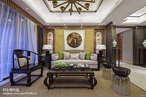 2018精选96平方三居客厅中式装修实景图片大全三居中式现代家装装修案例效果图