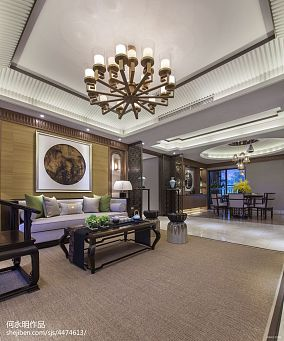 禅意中式风格客厅吊顶设计三居中式现代家装装修案例效果图