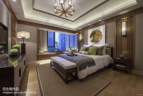 精选面积94平中式三居卧室效果图三居中式现代家装装修案例效果图