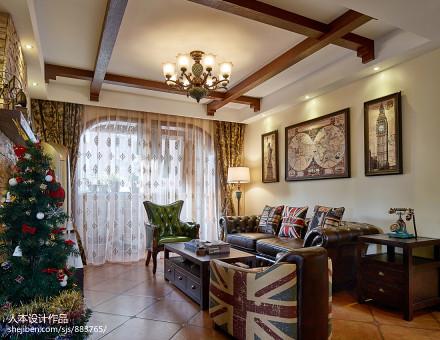 精选96平米三居客厅美式装修设计效果图片欣赏