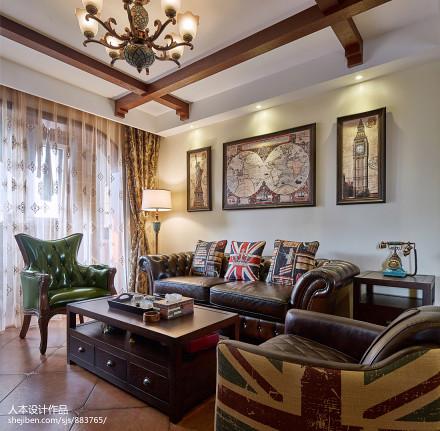 2018106平米三居客厅美式装修效果图片大全