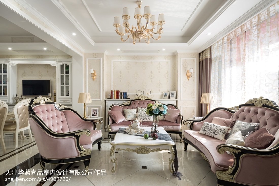 142平米欧式别墅客厅欣赏图片别墅豪宅欧式豪华家装装修案例效果图