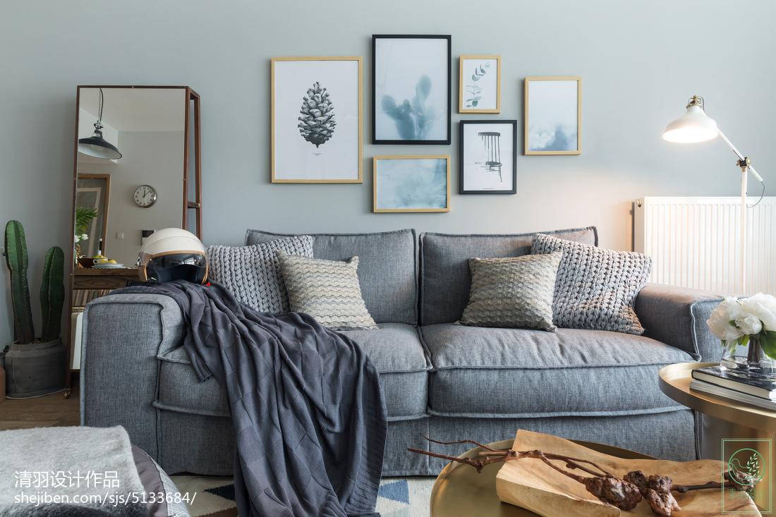 清新北欧风格照片墙设计客厅北欧极简客厅设计图片赏析