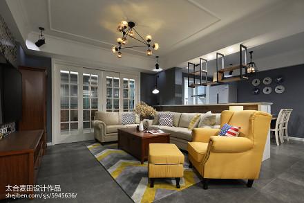 蓝灰色混搭风格客厅装修