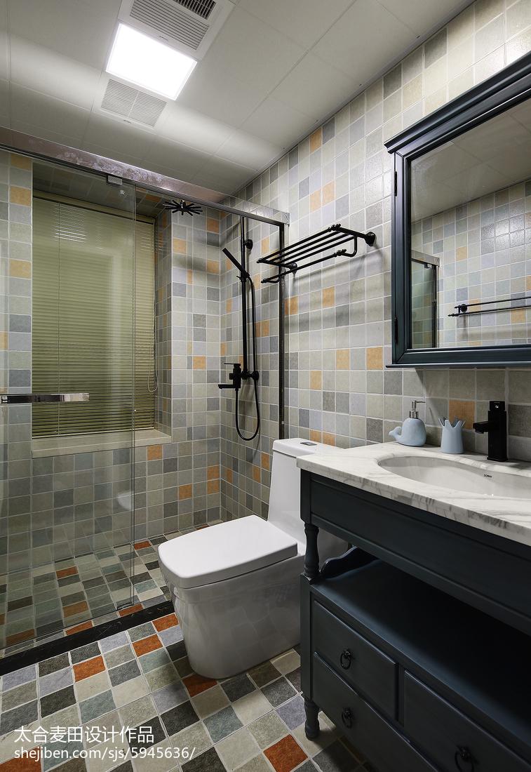 混搭风格卫浴马赛克瓷砖设计卫生间潮流混搭卫生间设计图片赏析