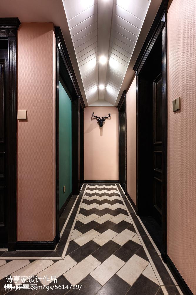 美式过道马赛克地板设计玄关美式经典玄关设计图片赏析