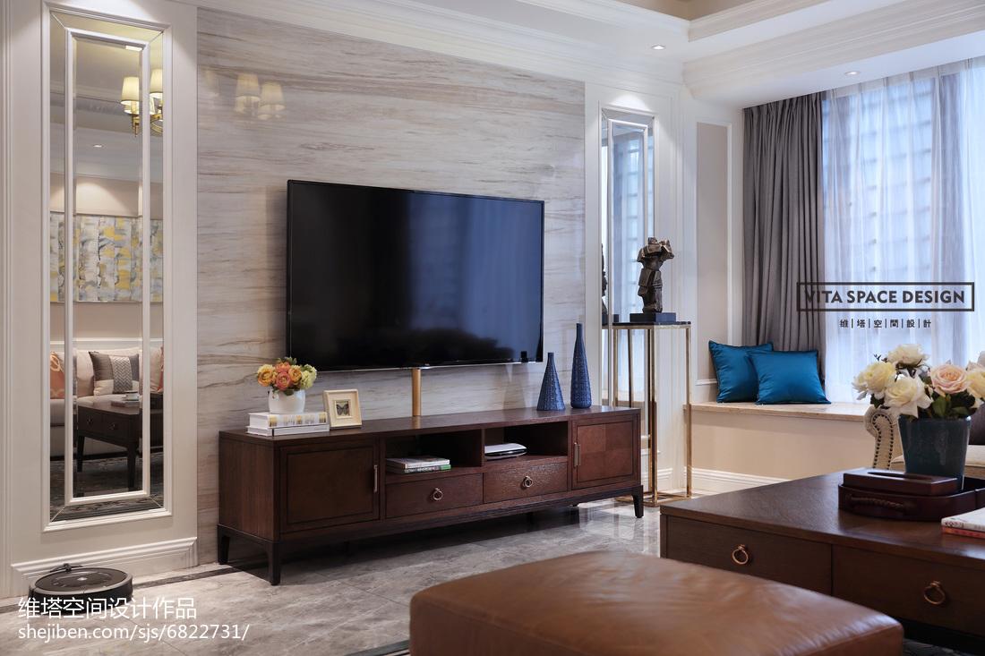 美式电视背景墙装修客厅美式经典客厅设计图片赏析