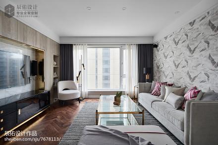 时尚中式客厅效果图四居及以上中式现代家装装修案例效果图