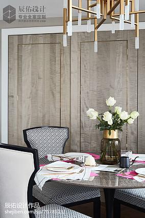 2018精选面积129平中式四居餐厅装饰图四居及以上中式现代家装装修案例效果图