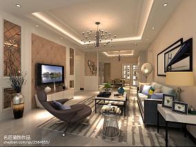简美客厅弧形吊顶效果图