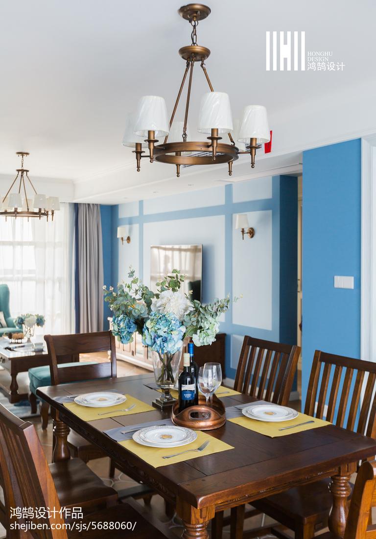 精美90平米三居餐厅美式装修设计效果图厨房窗帘美式经典餐厅设计图片赏析