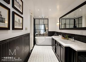 质朴106平美式三居卫生间装饰图片三居美式经典家装装修案例效果图