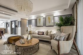 美式公寓客厅效果图三居美式经典家装装修案例效果图