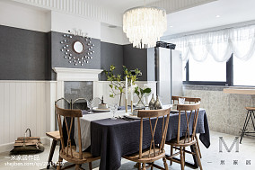 华丽93平美式三居餐厅设计效果图三居美式经典家装装修案例效果图