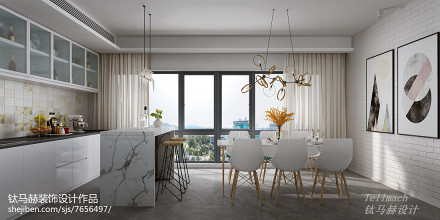 2018精选72平米二居餐厅简欧装修效果图片大全二居北欧极简家装装修案例效果图