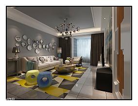 现代风格90平米两室一厅装修图片