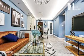 华丽90平美式三居客厅效果图三居美式经典家装装修案例效果图