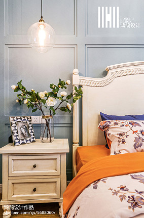 2018面积103平美式三居卧室效果图片家装装修案例效果图