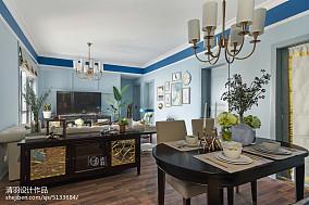 109平米三居客厅美式装修设计效果图三居美式经典家装装修案例效果图