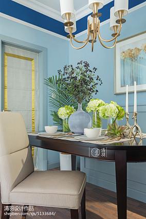 热门面积96平美式三居餐厅装修实景图家装装修案例效果图