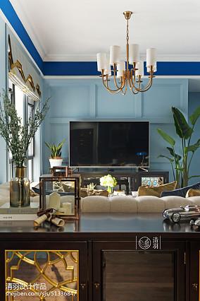 热门面积100平美式三居客厅装饰图片欣赏三居美式经典家装装修案例效果图