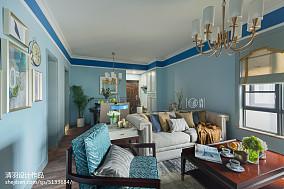 热门103平方三居客厅美式装修欣赏图三居美式经典家装装修案例效果图