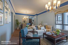 美式蓝色系客厅效果图