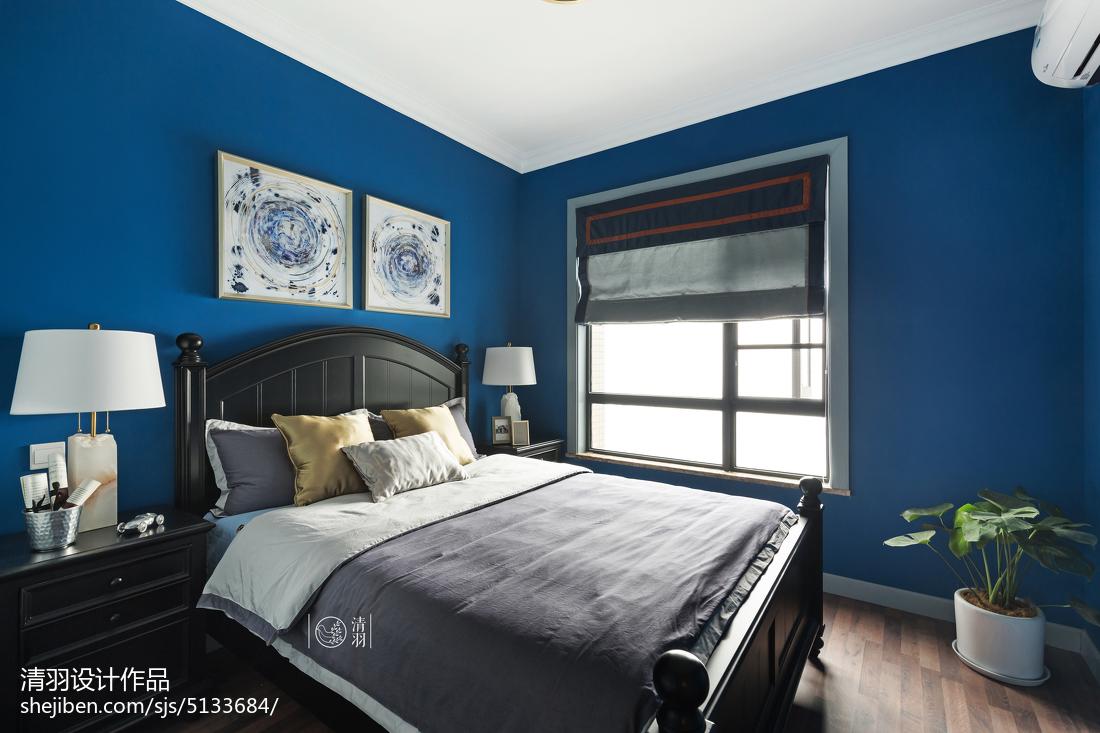 美式卧室蓝色墙漆卧室美式经典卧室设计图片赏析