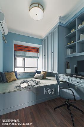 蓝色系美式榻榻米书房装修三居美式经典家装装修案例效果图