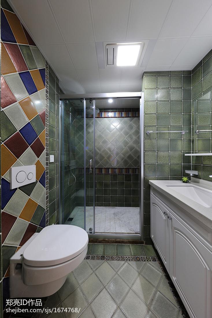 精美73平美式復式裝潢圖衛生間美式經典衛生間設計圖片賞析