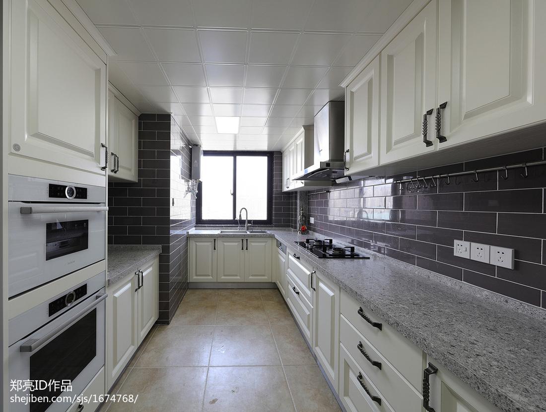典雅69平美式复式厨房装饰美图餐厅橱柜美式经典厨房设计图片赏析