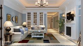 2018面积124平别墅客厅简欧设计效果图