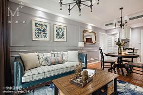 热门85平方二居客厅美式装修实景图片大全81-100m²二居美式经典家装装修案例效果图
