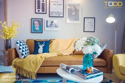 热门面积74平北欧二居客厅装修效果图二居北欧极简家装装修案例效果图