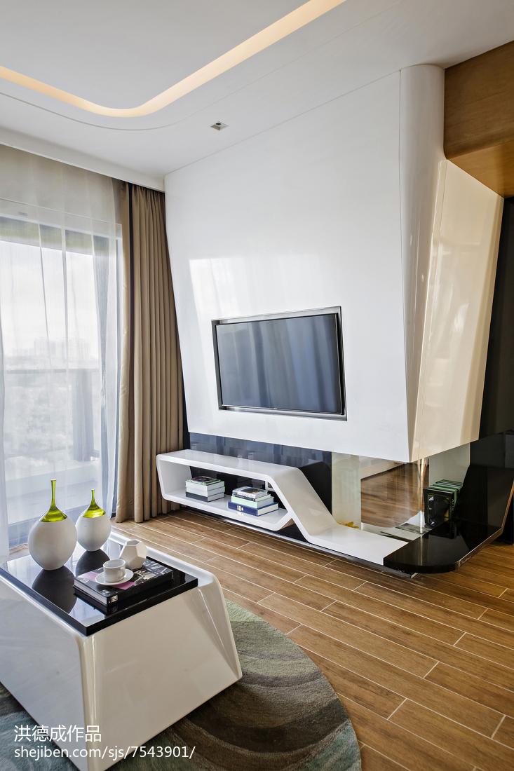 时尚个性电视背景墙客厅现代简约客厅设计图片赏析