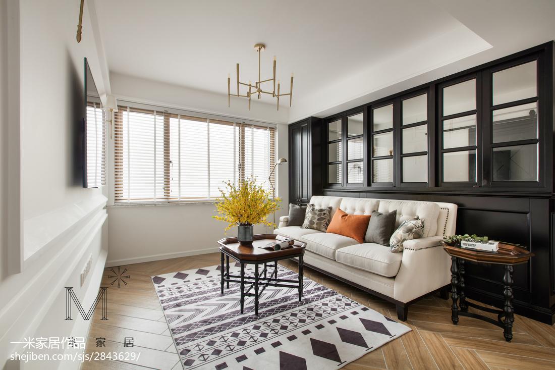 简洁116平美式三居客厅效果图片大全三居美式经典家装装修案例效果图