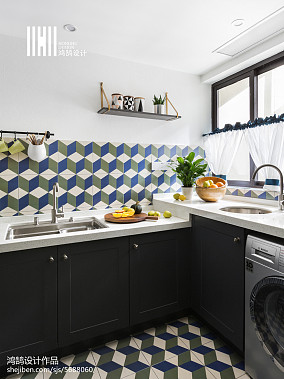 精美78平米二居厨房美式欣赏图片二居美式经典家装装修案例效果图