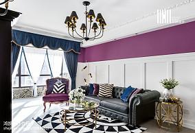 2018二居客厅美式装修实景图片二居美式经典家装装修案例效果图