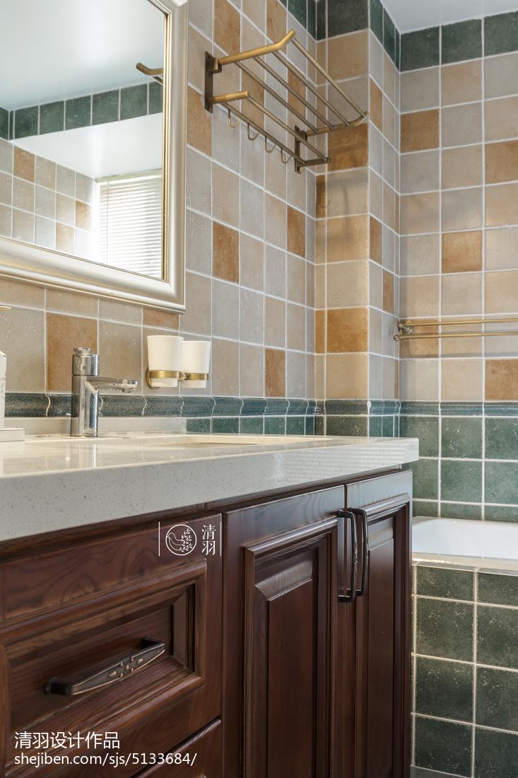 精美面积90平美式三居卫生间装修欣赏图片大全餐厅美式经典厨房设计图片赏析