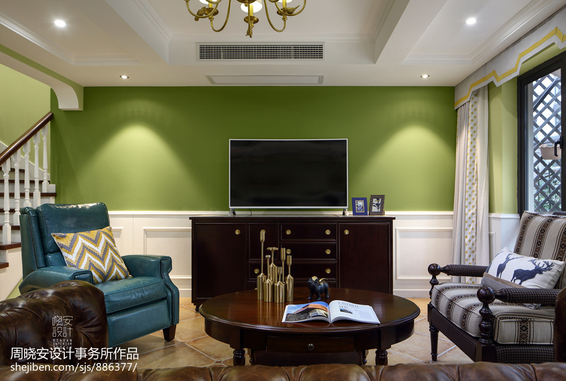 明亮78平美式三居设计案例客厅窗帘美式经典客厅设计图片赏析