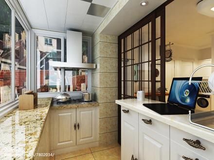 现代欧式厨房效果图60m²以下二居现代简约家装装修案例效果图